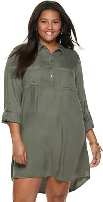 Juniors' Plus Size SO Solid Utility Shirtdress