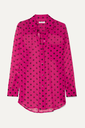 Equipment Polka-dot Silk-chiffon Shirt - Pink