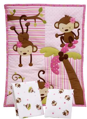 NoJo Little Bedding by 3 Piece Little Monkeys Portable Crib Bedding Set