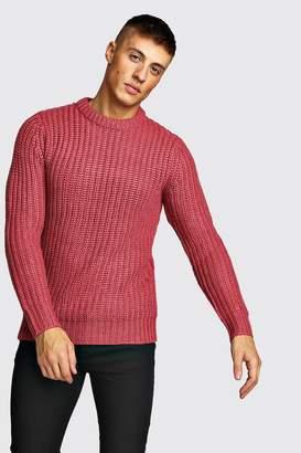 boohoo Drop Shoulder Fisherman Stitch Knitted Jumper