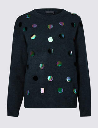 560292a78d at Marks and Spencer · M S Collection Embellished Large Sequin Long Sleeve  Jumper