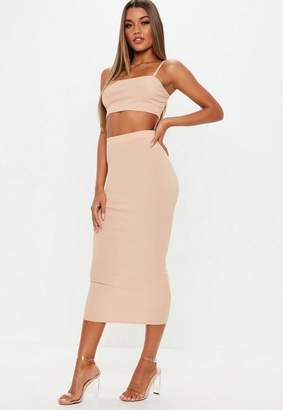 Missguided Sand Ribbed Midi Skirt And Strappy Top Co Ord