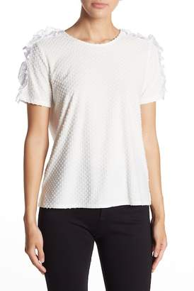 Cynthia Steffe CeCe by Short Sleeve Mixed Media Knit Blouse