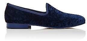 Del Toro MEN'S PRINCE U VELVET VENETIAN SLIPPERS-DK. BLUE SIZE 7 M