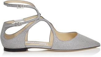 Jimmy Choo LANCER FLAT Silver Fine Glitter Leather Pointy Toe Flats