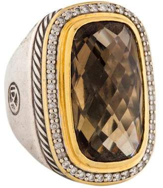 David Yurman 18K Diamond & Smoky Quartz Albion Ring