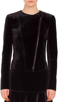 Akris Punto Asymmetric Zip-Front Velvet Front Jersey Back Moto Jacket