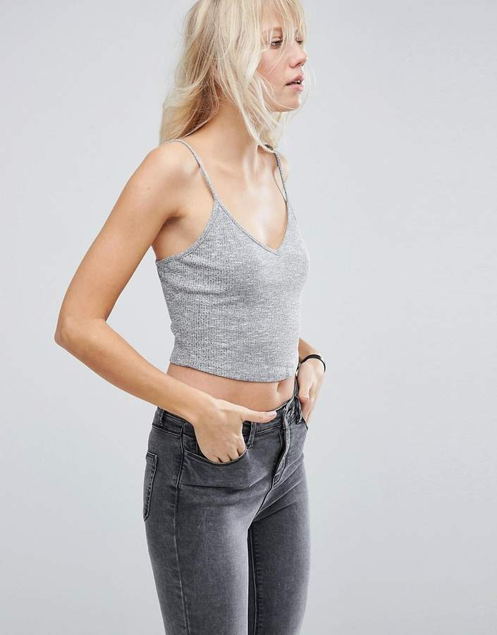 ASOS Strappy Crop Cami in Textured Rib