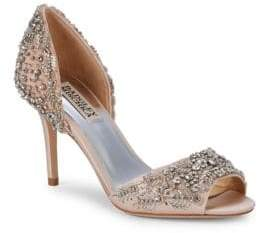 Badgley Mischka Shaina Beaded Crystal Peep Toe pumps