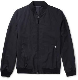 Ermenegildo Zegna Leather-Trimmed Trofeo Wool Bomber Jacket