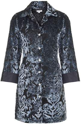 At Last... - Amanda Silk Velvet Shirt Grey Boho Flower