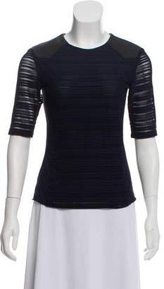 Rag & Bone Leather-Accented Short Sleeve Top