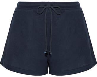 Skin - Winona Waffle-knit Cotton Pajama Shorts - Midnight blue