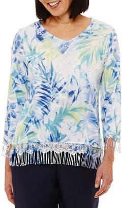 Alfred Dunner Bonita Springs 3/4 Sleeve V Neck Pullover Sweater