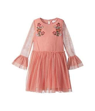 BCBGMAXAZRIA Girls Mesh Dot Embroidered Dress (Big Kids)