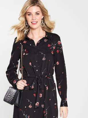 db85dfbd65b1 Warehouse Floral Buttoned Belted Mini Shirt Dress - Black