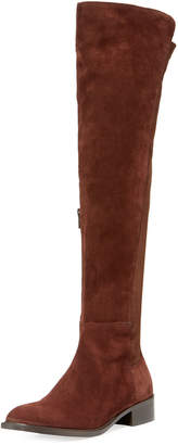 Sesto Meucci Griffe Flat Stretch Suede Over-the-Knee Boots
