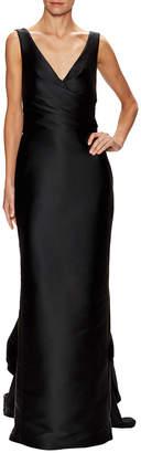 Monique Lhuillier V-Neck Draped Column Gown