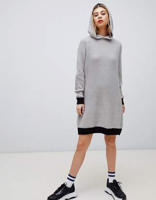 Noisy May slogan knitted mini hoodie dress in gray