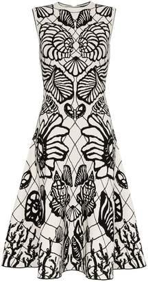 Alexander McQueen shell print flared skirt midi dress