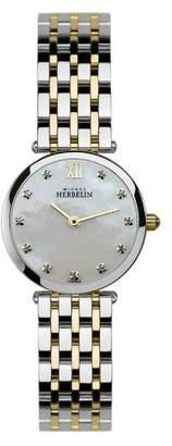 Mother of Pearl Michel Herbelin Women's Quartz Watch with Dial Analogue Display and Multicolour Stainless Steel Bracelet 1045/BT59