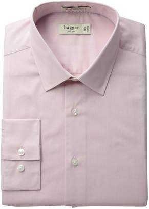 Haggar Men's Fitted Mechanical Stretch Solid Long Sleeve Dress Shirt