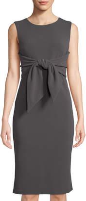 Neiman Marcus Tie-Front Sleeveless Sheath Dress