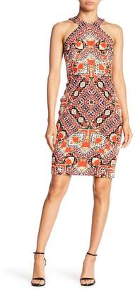 Maggy London Patterned Halter Neck Dress
