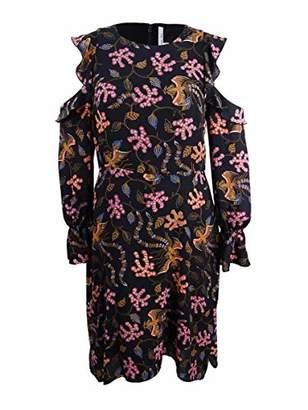 Rachel Roy Women's Cold Shoulder Printed Ruffle Sleeve Midi