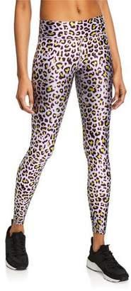 Terez Metallic Cheetah-Print Tall Band Leggings