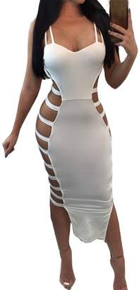 Soficy Womens Sexy Lace up Side Hollow Out Strappy Party Club Bodycon Bandage Dress(,S)