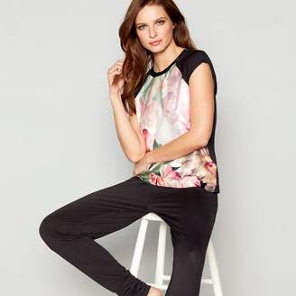 Ted Baker Black Floral Print Satin 'Painted Posey' Short Sleeve Pyjama Top