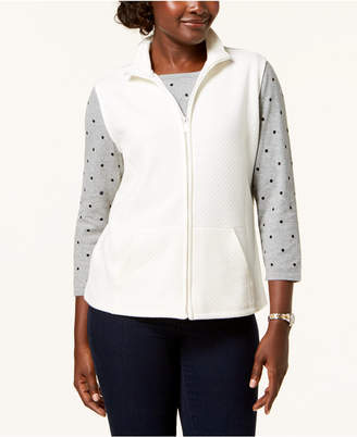 Karen Scott Petite Mini-Quilt Fleece Vest