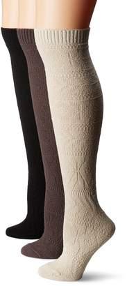 Muk Luks Women's 3 Pair Pack Diamond Knee High Socks