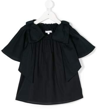 Chloé Kids bow detail ruched T-shirt