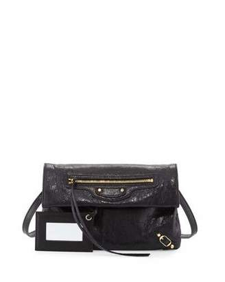 Balenciaga Classic Gold Mini Envelope Crossbody Bag, Black $985 thestylecure.com