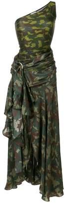 Faith Connexion camouflage print one shoulder dress