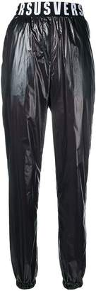 leather-like logo waist track trousers