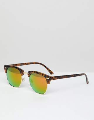 Jack and Jones Retro Sunglasses In Tortoiseshell With Reflective Lens