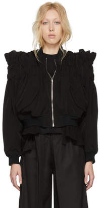 Noir Kei Ninomiya Black Gathered Back Tie Bomber Jacket