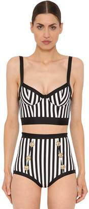 Balmain STRIPED LYCRA STRETCH BIKINI TOP