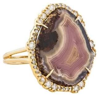 Kimberly McDonald 18K Agate & Diamond Cocktail Ring