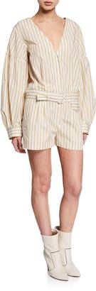 Derek Lam 10 Crosby Belted Striped Blouson-Sleeve Romper