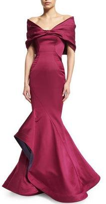 Zac Posen Off-The-Shoulder Mermaid Gown, Sangria $6,990 thestylecure.com