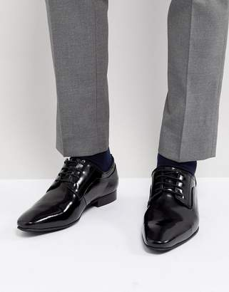 Dune Lace Up Derby Shoes In Black High Shine