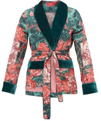 F.R.S For Restless Sleepers F.R.S – For Restless Sleepers Armonia Floral Print Velvet Trimmed Silk Jacket - Womens - Green Multi