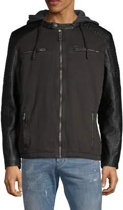 ProjekRaw Projek Raw Faux Leather-Trimmed Hooded Jacket