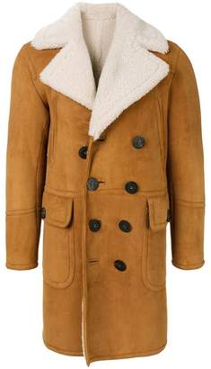 DSQUARED2 shearling double-breasted coat