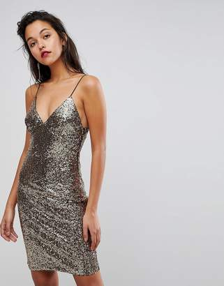 Club L Cami Strap All Over Sequin Dress