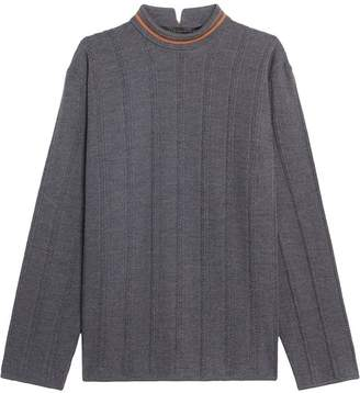 MACKINTOSH 0003 Grey & Orange Cotton Blend V-Neck Sweater